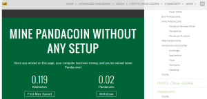 pandacoin cryptocurrency browser miner image
